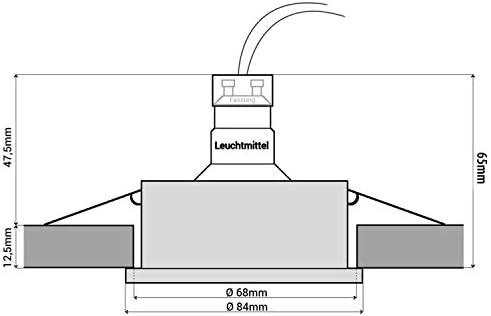 6 Stück SSC-LUXon RW-1 LED Badeinbaustrahler IP65 Set - mit LED GU10 3W warmweiß 230V - runder Deckenspot in chrom glänzend