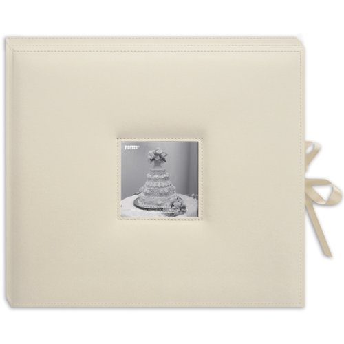 (Sewn Leatherette D-Ring Scrapbook Box - Ivory 1 pcs sku# 633205MA)