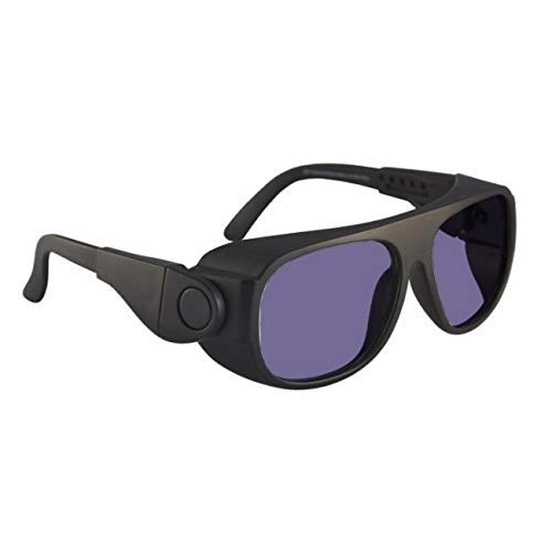 Polycarbonate Sodium Flare Glass Working Spectacles in Black Safety Frame with Adjustable Side Arms
