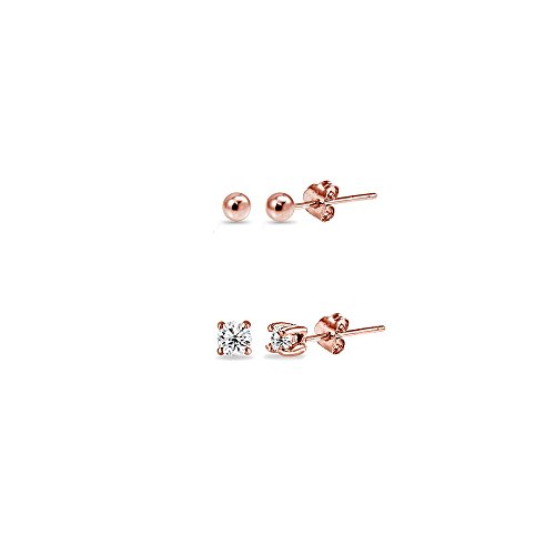 2 Pairs Rose Flash Sterling Silver 2mm Round CZ & Ball Bead Lightweight Unisex Cartilage Earrings - Studs Second Piercing Earrings