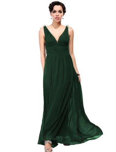 Ever Pretty Womens Elegant Empire Waist Double V Neck Maxi Dress 4 US Dark Green