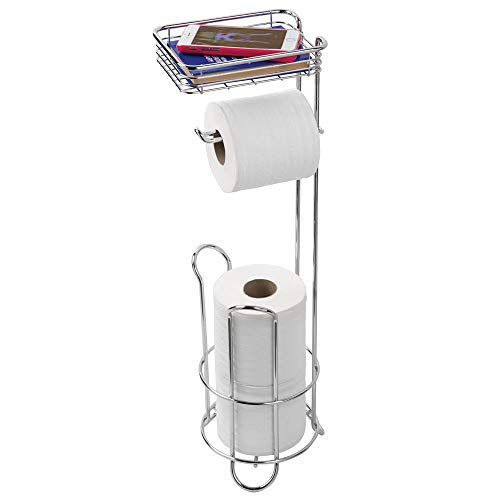 Dispenser Chrome Bathroom Tissue (InterDesign Classico Free Standing Toilet Paper Dispenser and Holder with Storage Shelf for Bathroom – Chrome)