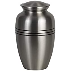 Alpha Living Home Creamation Urn Human 6x10 Inches - Pewter/Silver - Handcrafted Funeral Memorial Urn in Elegant Pewter Affordable Urn for Human Ashes