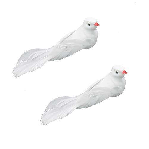 Buorsa 2Pcs Fake Doves Artificial Foam Feather White Birds with Feet,Decorative Craft Bird for Home Ornaments,Wedding Decor