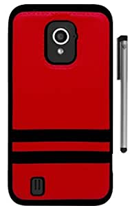 For ZTE Source N9511 Stripe Design Hybrid Phone Protector Cover Case with Stylus Pen and ApexGears Phone Bag (Red Black)