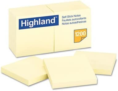 Self-Stick Pads, 3 x 3, Yellow, 100 Sheets/Pad, 12 Pads/Pack, Total 18 PK, Sold as 1 Carton