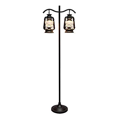 Belief Rebirth Vintage Lantern Kerosene Floor Lamp Black - American Rural Antique Desktop Light,Old-Fashioned Retro Iron Reading Lamp for Cafe Bar Warehouse Restaurant (Color : 2 Light)
