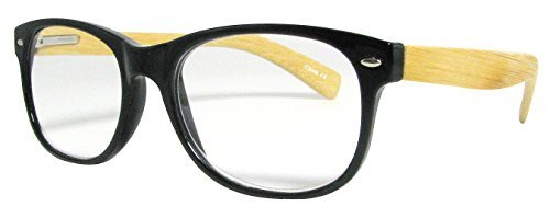 Wayfarer Style Reading Glasses, Black Frames With Bamboo Temples, Strength +2.0