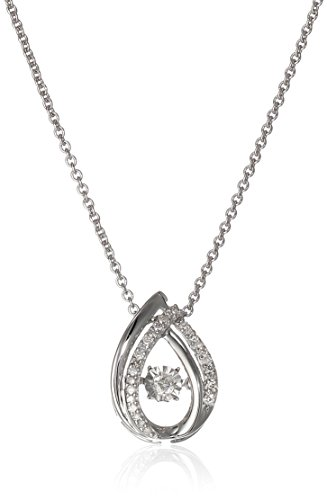 Sterling Silver Dancing Diamond Drop Pendant Necklace (1/10 cttw), -