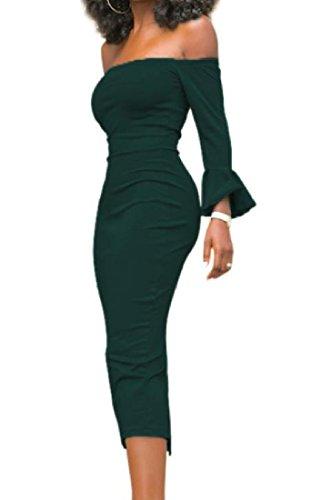 Les Femmes Confortables Moulantes Sexy À Manches Longues Évasées Une Robe De Cocktail Vert Étape