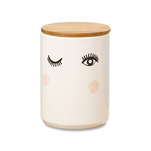 Whole House Worlds The Wink Pretty Eyes Big Lash Jar, White Glazed Ceramic, 4 Inches Diameter x 5 Inches Tall, Snug Wood Top, Glam, Wink White with Black and Blush Pink Details, Cylinder Canister from Whole House Worlds