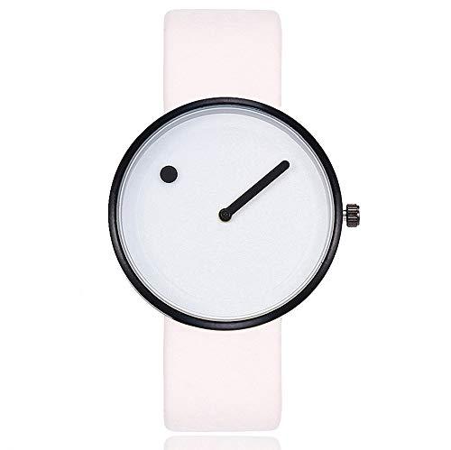 1c9d3f6d0fae Reloj Unisex Minimalista Punto Raya de Cuarzo y Correa de Cuero Blanco y  Negra (Blanco