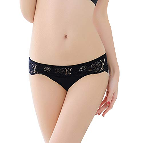 - Womens Sexy Lingerie Underwear Seamless Girls Lace Thong Panties Hipster Knickers (Black)