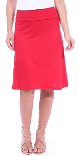 - Popana Women's Casual Stretch Midi Knee Length Short Summer Skirt - Made in USA Small Red