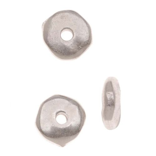 Fine Silver Plated Pewter Nugget Heishe Spacer Beads 6mm (10) (Plated Heishe Spacers)