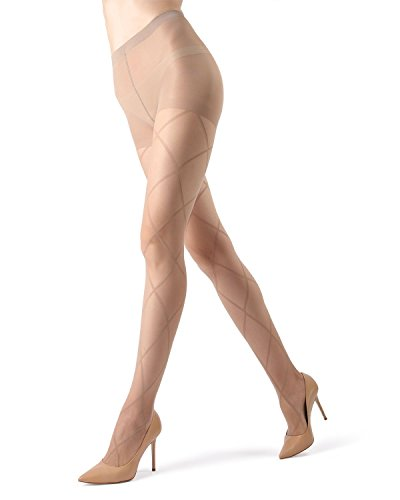 MeMoi Antwerp Sheer Diamond Tights - Elegant Legwear for Women Nude/Nude ME 107 Medium/Large ()