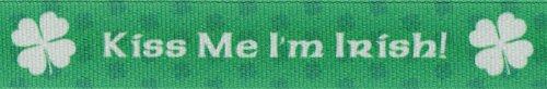 Country Brook Design 7/8 Inch Kiss Me I'm Irish Grosgrain Ribbon, 5 Yards