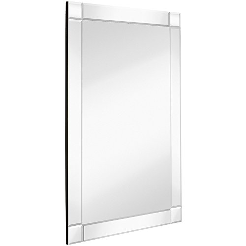 Hamilton Hills Large Squared Corner Beveled Mirror on Mirror Frame | Premium Silver Backed Glass Panel | Vanity, Bedroom, or Bathroom | Mirrored Rectangle Hangs Horizontal or Vertical (24