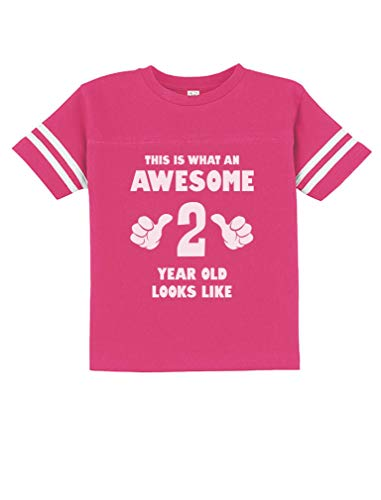 This is What an Awesome 2 Year Old Looks Like Funny Toddler Jersey T-Shirt 3T Wow Pink