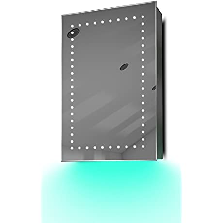 Demist Bathroom Mirror Cabinet With LED Under Lighting Sensor Internal Shaver K347t