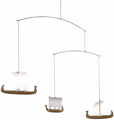 Flensted Mobiles Viking Ships 3 Hanging Mobile - 15 Inches - Teak by Flensted Mobiles