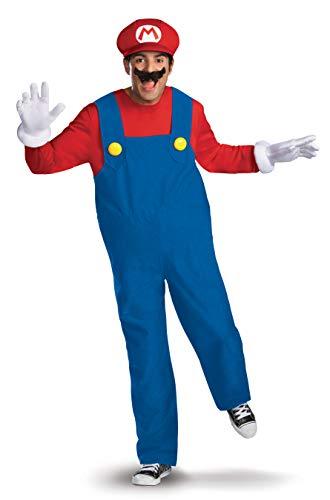Mario Luigi Wario Halloween Costumes (Disguise Super Mario Deluxe Mens Adult Costume, Red/Blue,)