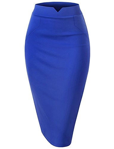 Regna X Woman Slim Fit Casual Feminine Blue Medium Pencil V Slit Waist Midi (Pencil Shade)