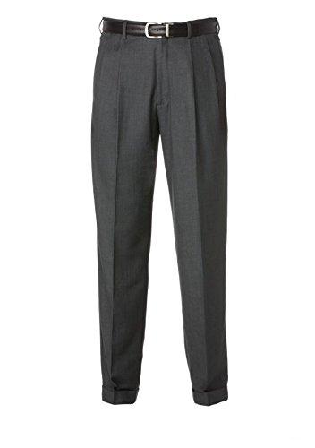Savane Men's Comfort Waist Microfiber Performance Dress Pants (32W X 32L, Charcoal) -