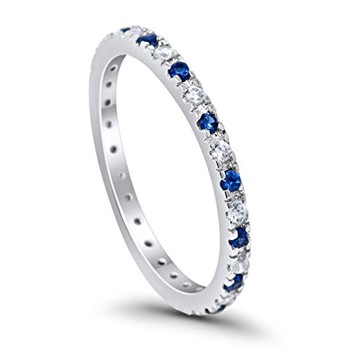 2mm Stackable Full Eternity Wedding Band Ring Round Alternating Simulated Blue Sapphire Cubic Zirconia 925 Sterling Silver Size 10 ()