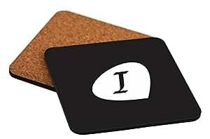 "Rikki Knight Letter ""I"" Black Initial Petal Leaves Design Cork Backed Hard Square Beer Coasters, 4-Inch, Brown, 2-Pack"