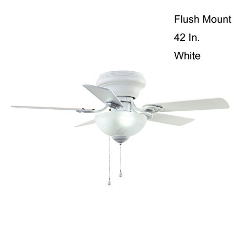 Builder Deluxe 5-Blade Single Light Ceiling Fan with White/Beech Blades and White Cased Glass Light Bowl,42-Inch