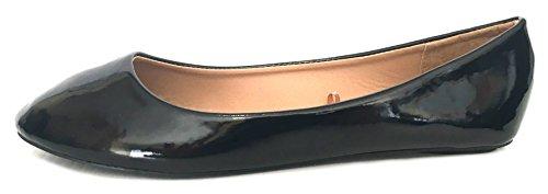 Shoes8teen Skor 18 Kvinnor Faux Mocka Rhinestone Ballerinabalett Flats Skor 4051 Svart / Svart