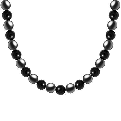 - WESTMIAJW Mens Magnetic Hematite Black Onyx Beads Gemstones Necklace Chain 19