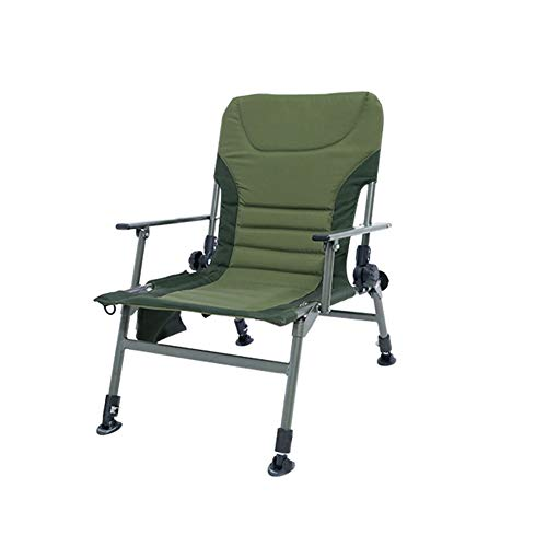 Lovehouse Camping Folding Chair with Adjustable Height Backrest, Recliner Camping Chair,Portable Fishing Chair Storage Pocket,Padded ()