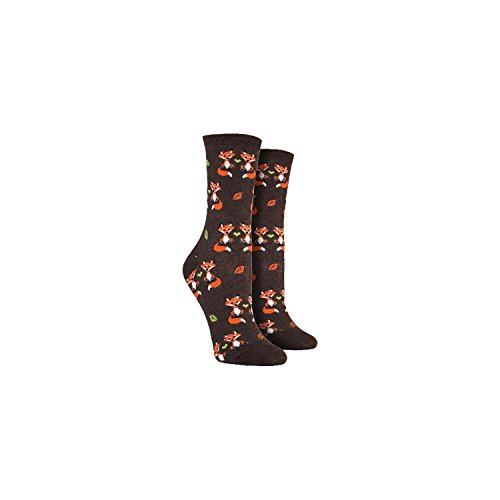 Socksmith Women's Foxy Love Novelty Brown Footwear Crew Socks 319tELBZckL