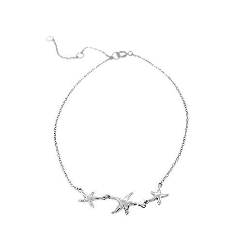 (925 Sterling Silver Three Triple Starfish Anklet Bracelet)