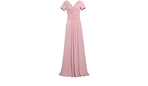 2f53f062c5b Women s V Neck Lace Sleeve Long Evening Mother of The Bride Dresses Size 2  US Blush at Amazon Women s Clothing store