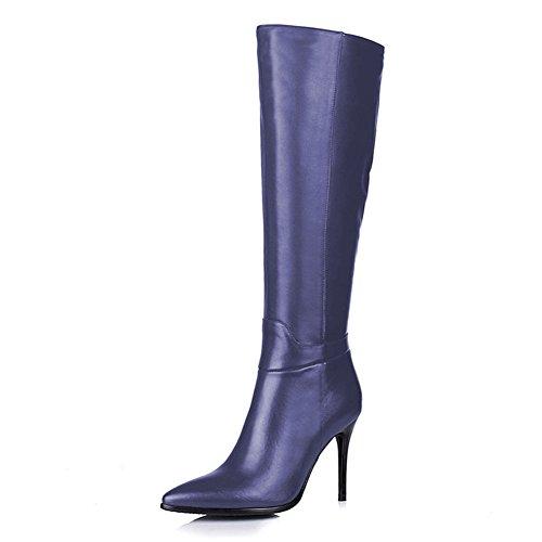 Talon Bleu De Mode Fminine Genou Sexy Pointu Fermeture Du Hauteur Mat Côt Haut Glissire Bottes Bout Lutalica 4ZOZq