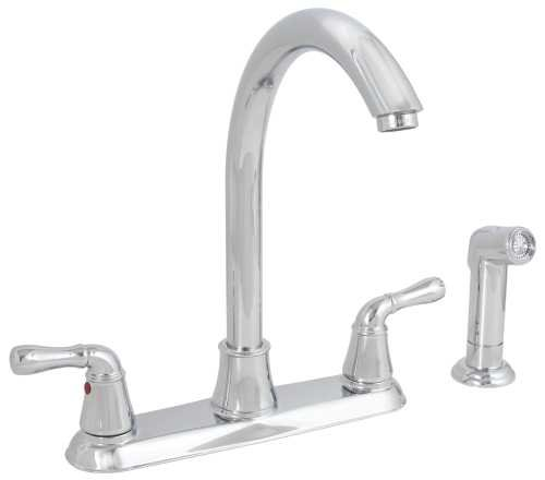 PREMIER GIDDS-120046LF Sanibel High-Arc Kitchen Faucet with Two Handles and Side Spray, Chrome, Lead Free