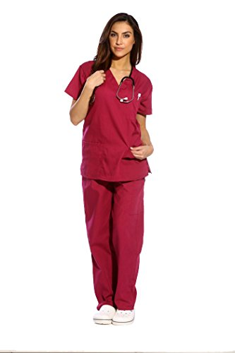 Just Love Women's Burgundy Scrub Set - Small