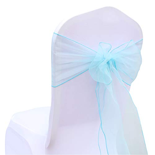 BIT.FLY 25 Pcs Organza Chair Sashes for Wedding Banquet Party Decoration Chair Bows Ties Chair Cover Bands Event Supplies - Turquoise]()