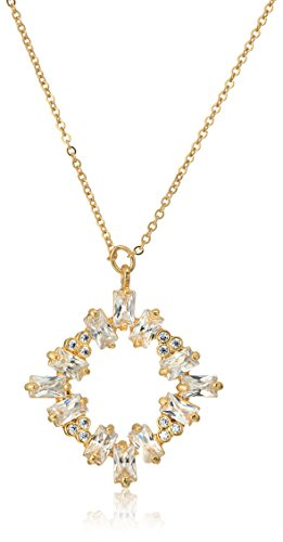 CZ by Kenneth Jay Lane Women's Baguette Cluster Round Pendant Necklace, Clgo, One Size (Kenneth Jay Lane Circle Necklace)