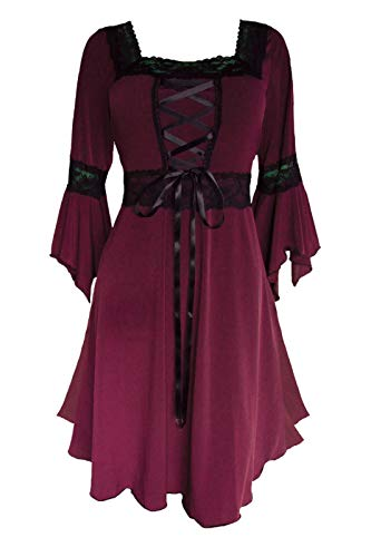 Dare to Wear Renaissance Corset Dress: Victorian Gothic Boho Plus Size Witchy Women's Gown for Everyday Halloween Cosplay Festivals, Burgundy 4x ()