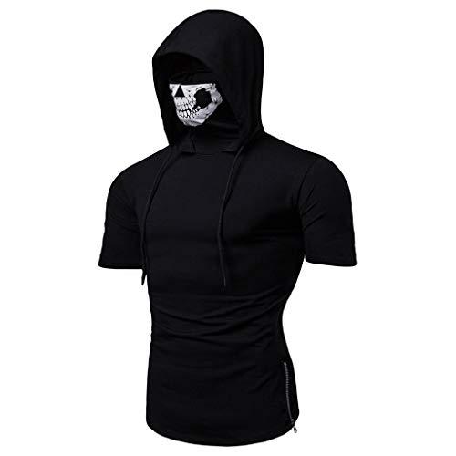 Sunmoot Sports Tops Mens Slim Fit Skull Mask Print Fitness Vest Short Sleeve Hooded T Shirt Open-Forked Male Shirt -
