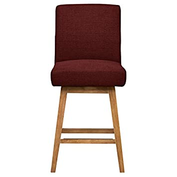 Stone Beam Sophia Modern Swivel Counter Stool, 39.4 H, Merlot
