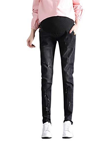 Signore Comfort Zhhlaixing Le Jeans Intera Elastico Pantaloni Nero Maternità Casuale Sciolto I Incinta Lunghezza Indossare 5THTPxr