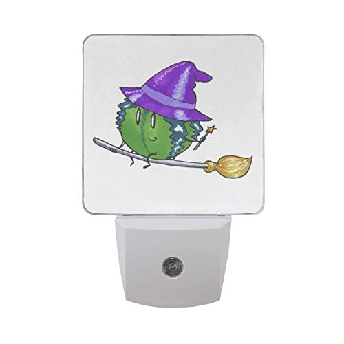 xiaodengyeluwd 2 Pack Halloween Watermelon in Witch Hat Hold Star Magic Wand On Broom Flying Auto Sensor LED Dusk to Dawn Night Light Plug in Indoor for Adults]()