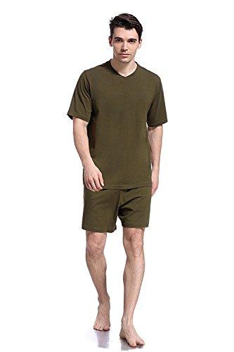 (Like2sea Summer Cotton Pajamas for Men, Short V-Neck PJ Set, Green, XL)