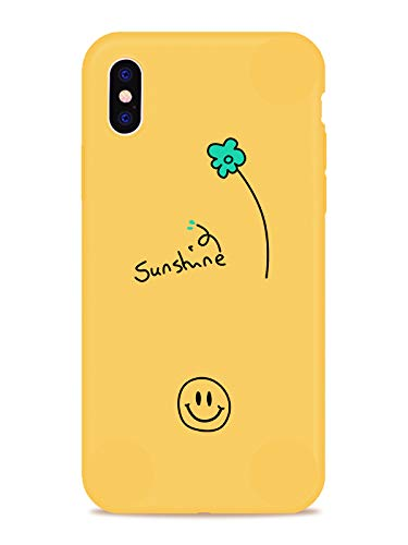 JOYLAND Smile Phone Case for iPhone Xs Max Yellow Phone Case Smile Face Sunshine Floret Little Flower Cover Full Protective Soft Rubber Case Compatible for iPhone Xs Max ()