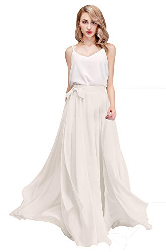 Honey Qiao Women's Chiffon Maxi Skirt Bridesmaid Dresses Long High Waist Floor/Ankle Length Elastic Woman Dresses with Belt Ivory